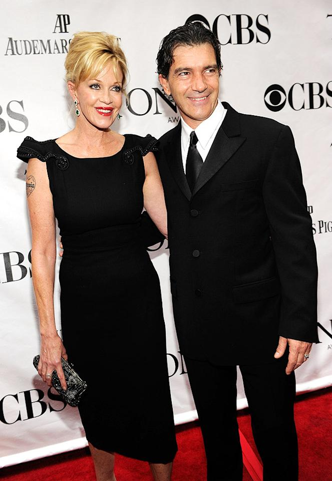 """Melanie Griffith and hubby Antonio Banderas played it safe in basic back. Unfortunately, Melanie's overall look was ruined by a tacky arm tattoo. Kevin Mazur/<a href=""""http://www.wireimage.com"""" target=""""new"""">WireImage.com</a> - June 13, 2010"""