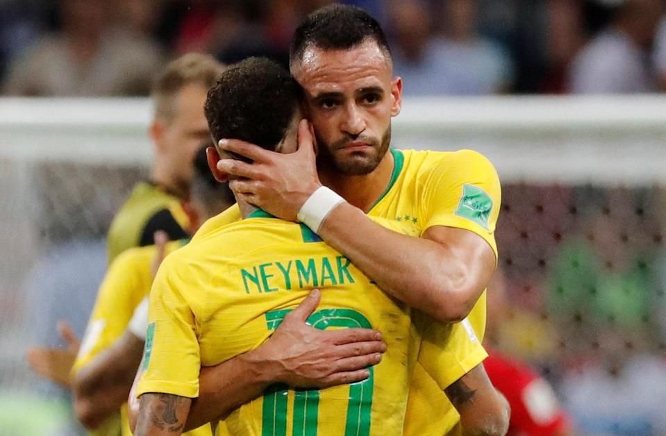 <p>Brazil's Neymar is embraced by Renato Augusto at the end of the match REUTERS/Toru Hanai </p>