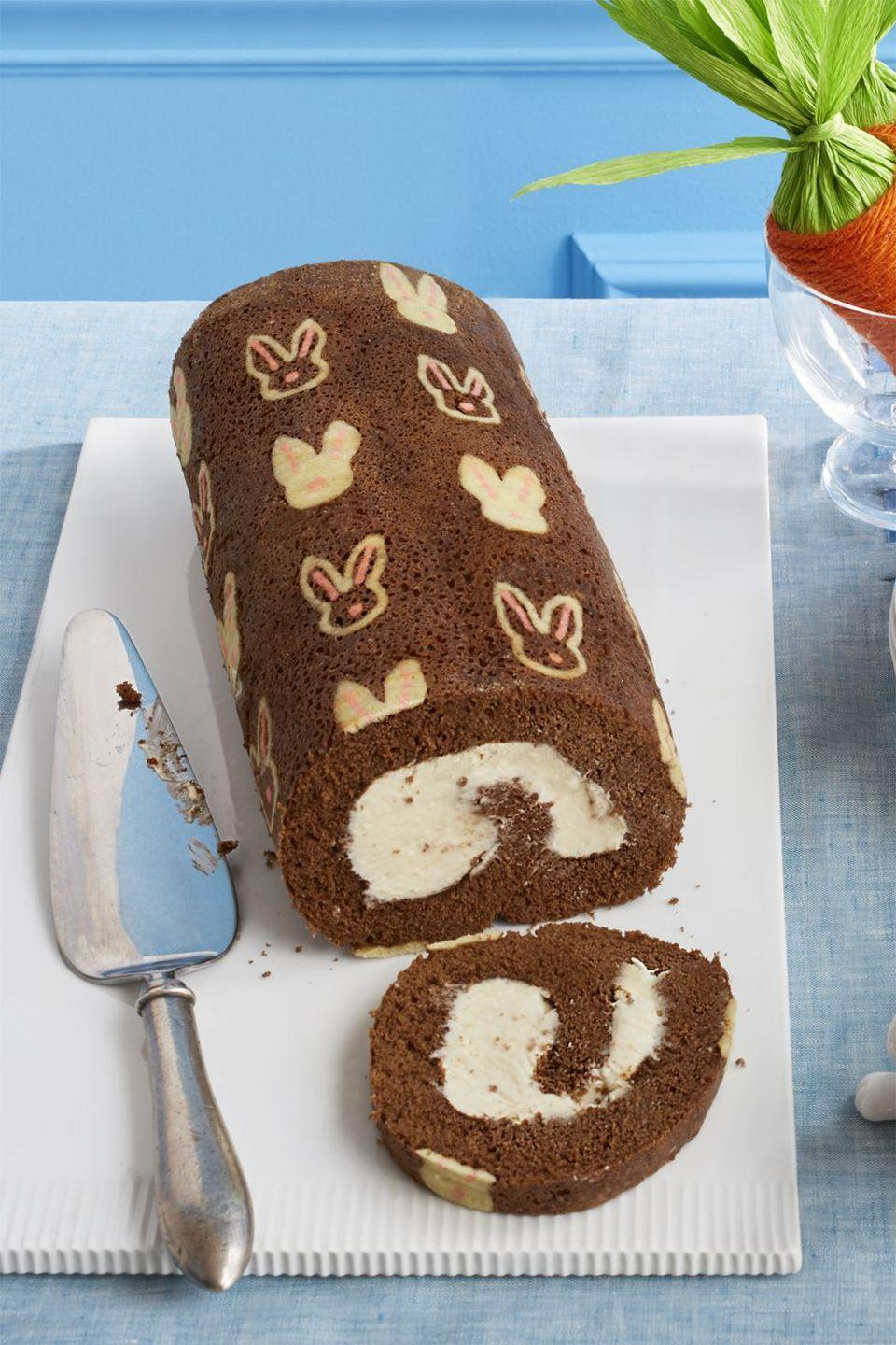 "<p>Give Grandma's classic swiss roll an Easter refresh with pink and white bunny stamps. </p><p><em><a href=""https://www.womansday.com/food-recipes/food-drinks/recipes/a58125/bunny-mocha-swiss-roll-recipe/"" rel=""nofollow noopener"" target=""_blank"" data-ylk=""slk:Get the recipe from Woman's Day »"" class=""link rapid-noclick-resp"">Get the recipe from Woman's Day »</a></em></p>"
