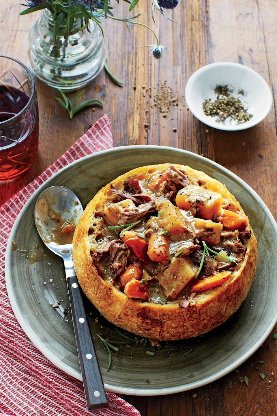"""<p><strong>Recipe: <a href=""""https://www.southernliving.com/syndication/peppered-beef-soup"""" rel=""""nofollow noopener"""" target=""""_blank"""" data-ylk=""""slk:Peppered Beef Soup"""" class=""""link rapid-noclick-resp"""">Peppered Beef Soup</a></strong></p> <p>Freeze leftovers in an airtight container up to three months. Add a bit of canned broth when reheating to reach desired consistency.</p>"""