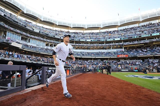 NEW YORK, NEW YORK - OCTOBER 15: Giancarlo Stanton #27 of the New York Yankees takes the field as he is introduced prior to game three of the American League Championship Series against the Houston Astros at Yankee Stadium on October 15, 2019 in New York City. (Photo by Elsa/Getty Images)