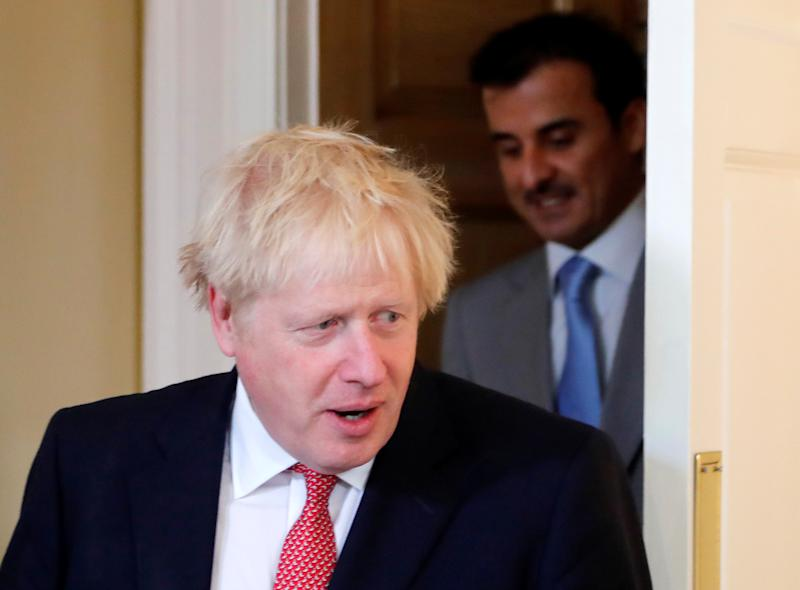 Britain's Prime Minister Boris Johnson meets with Qatar's Emir Sheikh Tamim bin Hamad Al Thani at Downing Street in London, Britain September 20, 2019 Frank Augstein/Pool via REUTERS