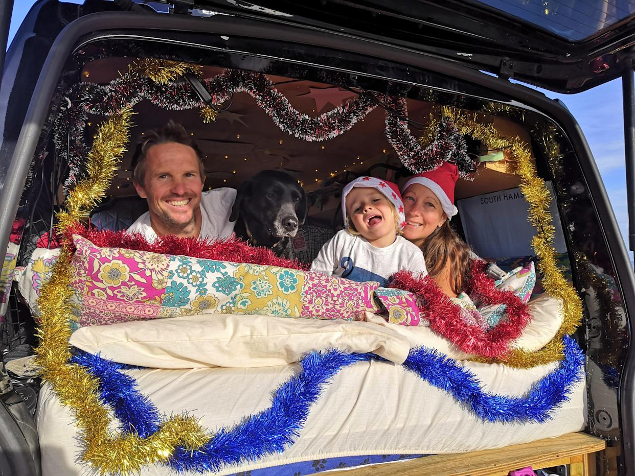 The family decorate their van for Christmas. (SWNS)