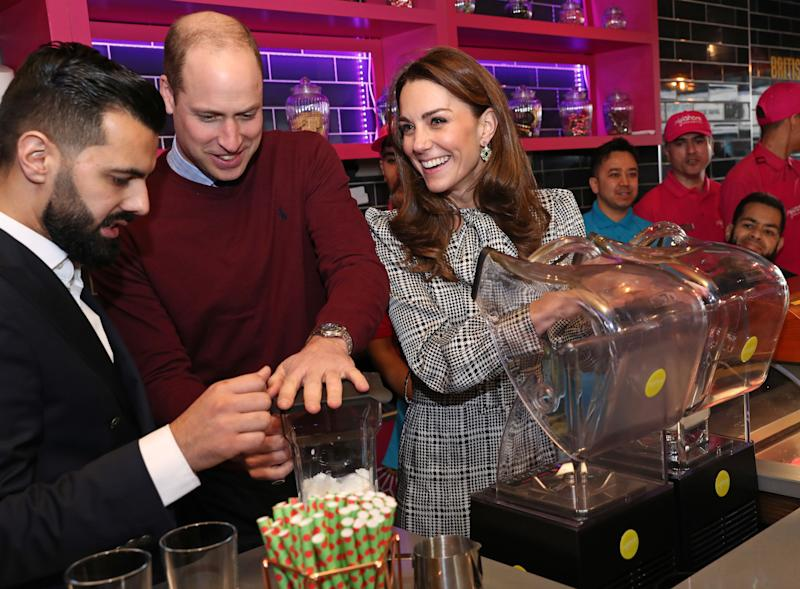 The Duke of Cambridge and Duchess of Cambridge help make Kulfi milkshakes at MyLahore on Jan. 15 in Bradford, United Kingdom.  (Photo: Chris Jackson via Getty Images)