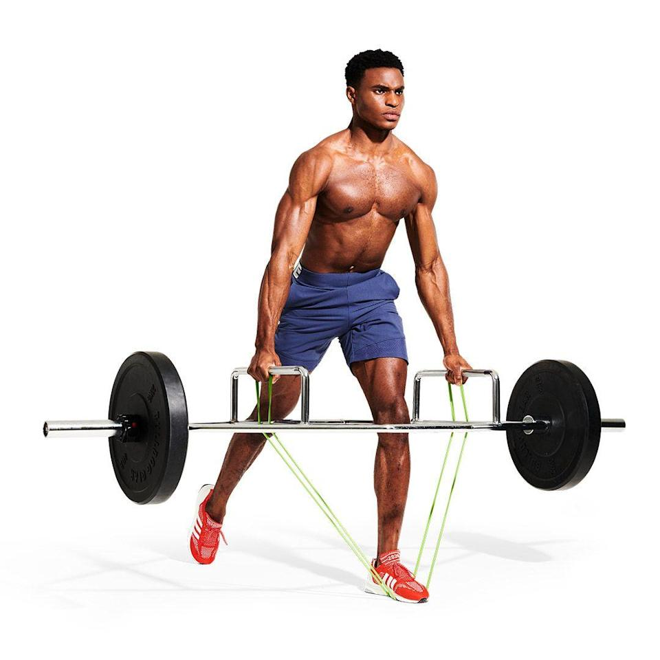 <p>Explosively stand tall, pushing the ground away with your front foot. Keep your back straight and your core tight. Squeeze your glutes at the top of the rep to maximise muscle activation.</p>