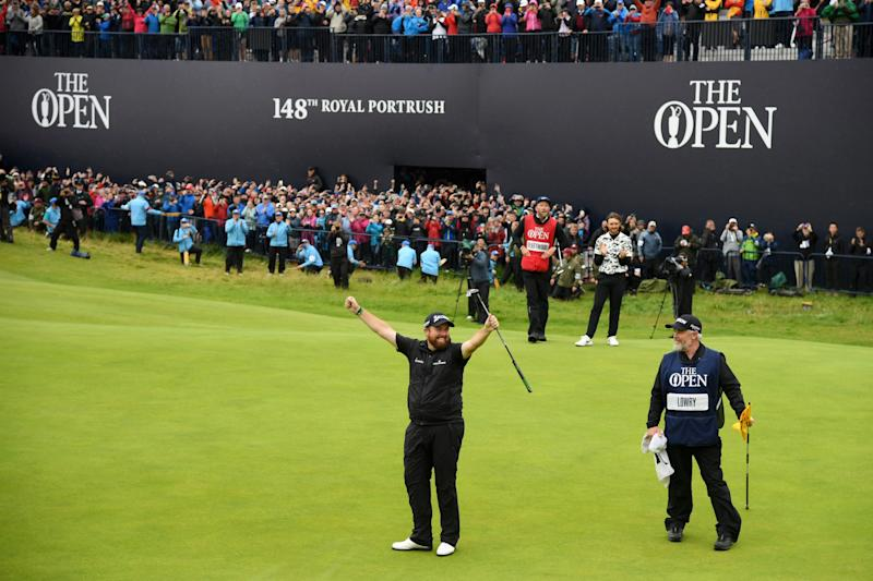 PORTRUSH, NORTHERN IRELAND - JULY 21: <<Shane Lowry of Ireland celebrates following his victory following the final round of the 148th Open Championship held on the Dunluce Links at Royal Portrush Golf Club on July 21, 2019 in Portrush, United Kingdom. (Photo by Ross Kinnaird/R&A/R&A via Getty Images)