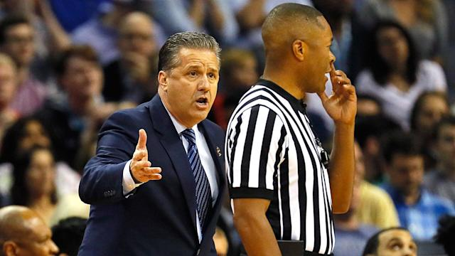 Kentucky coach John Calipari bemoaned the fact that some of his top players were in foul trouble in the first half vs. North Carolina in the Elite Eight.