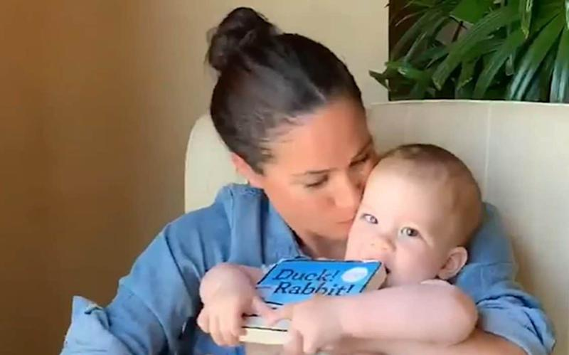 Meghan Markle read Amy Rosenthal's book, 'Duck! Rabbit!' to Archie in a video celebrating his first birthday earlier this week - Duke of Sussex/PA
