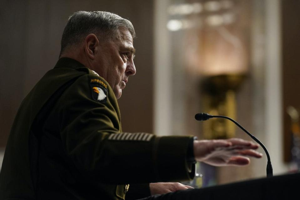 """<span class=""""caption"""">Gen. Mark Milley, chairman of the U.S. Joint Chiefs of Staff, speaks during a congressional committee hearing on the withdrawal of American troops Afghanistan. </span> <span class=""""attribution""""><span class=""""source""""> (AP Photo/Patrick Semansky, Pool) </span></span>"""
