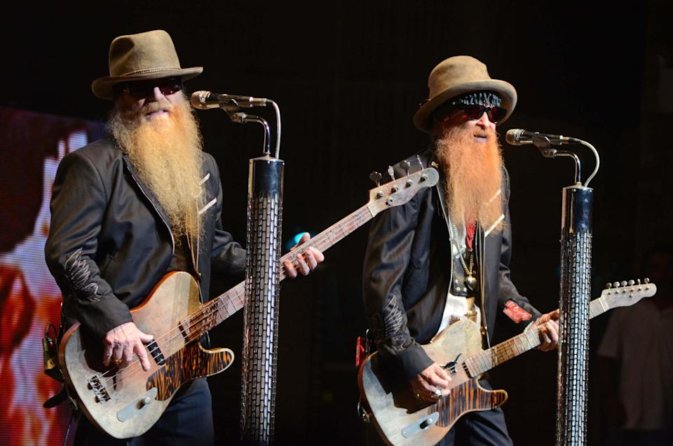 Dusty Hill, left, and Billy Gibbons on stage with ZZ Top at the Beacon in New York City in 2012 - Credit: Everett Collection