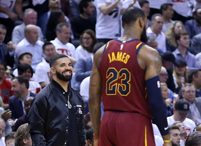 "The Cavaliers-Raptors series hasn't been going well for Drake. <a class=""link rapid-noclick-resp"" href=""/nba/players/3704/"" data-ylk=""slk:LeBron James"">LeBron James</a> is the primary reason why. (Getty Images)"