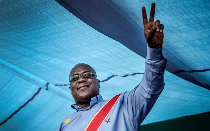 Felix Tshisekedi was announced as the winner of the delayed vote  - AFP