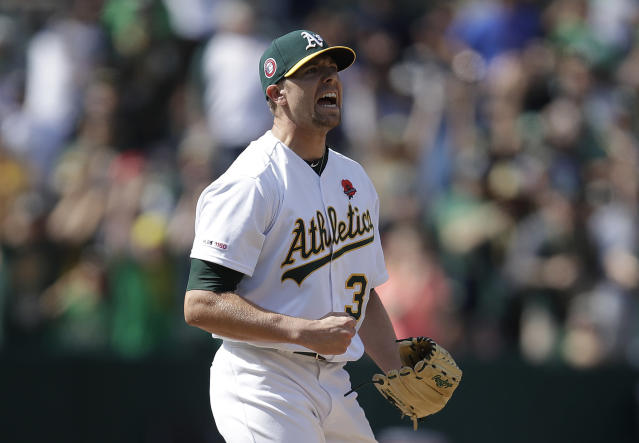 Oakland Athletics' Blake Treinen reacts as the final out is made against the Los Angeles Angels at the end of a baseball game Monday, May 27, 2019, in Oakland, Calif. (AP Photo/Ben Margot)