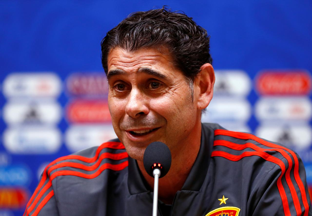 Soccer Football - World Cup - Spain Press Conference - Kaliningrad Stadium, Kaliningrad, Russia - June 24, 2018   Spain coach Fernando Hierro during the press conference   REUTERS/Fabrizio Bensch