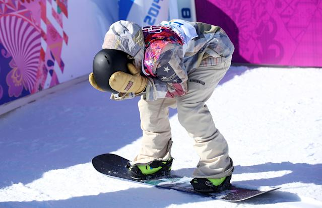 SOCHI, RUSSIA - FEBRUARY 08: Sage Kotsenburg of the United States reacts after his run during the Snowboard Men's Slopestyle Final during day 1 of the Sochi 2014 Winter Olympics at Rosa Khutor Extreme Park on February 8, 2014 in Sochi, Russia. (Photo by Julian Finney/Getty Images)