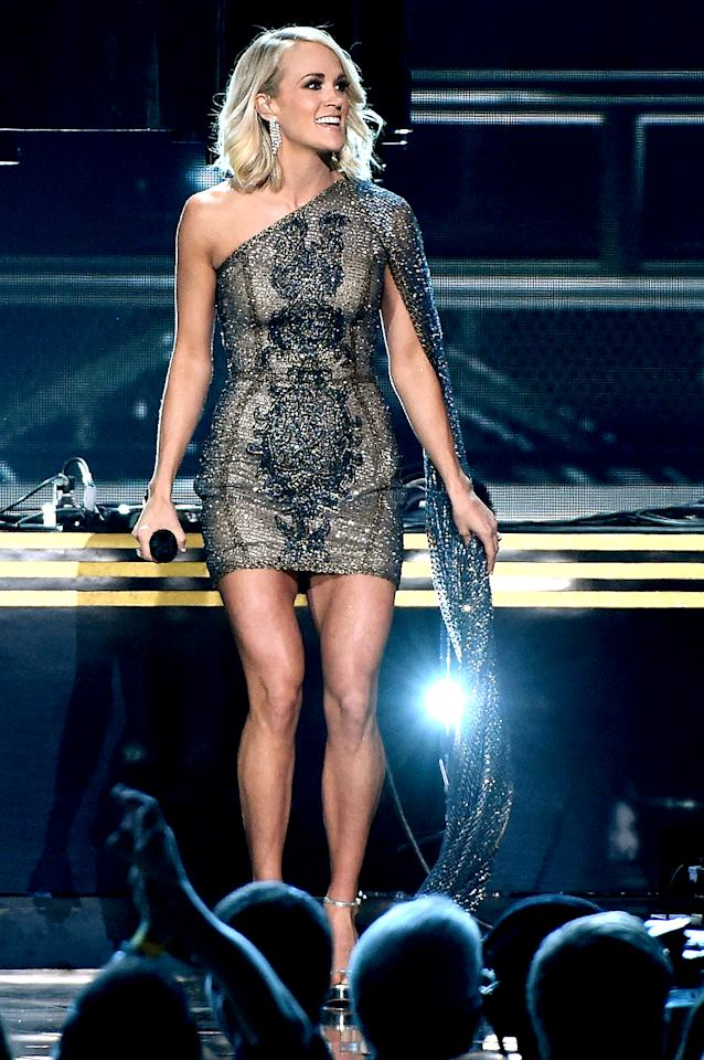 """<p>The """"Good Girl"""" singer put her stems on display at the 50th Annual CMA Awards in November. If you've got 'em, flaunt 'em! (Photo: Rick Diamond/Getty Images for Carrie Underwood) </p>"""