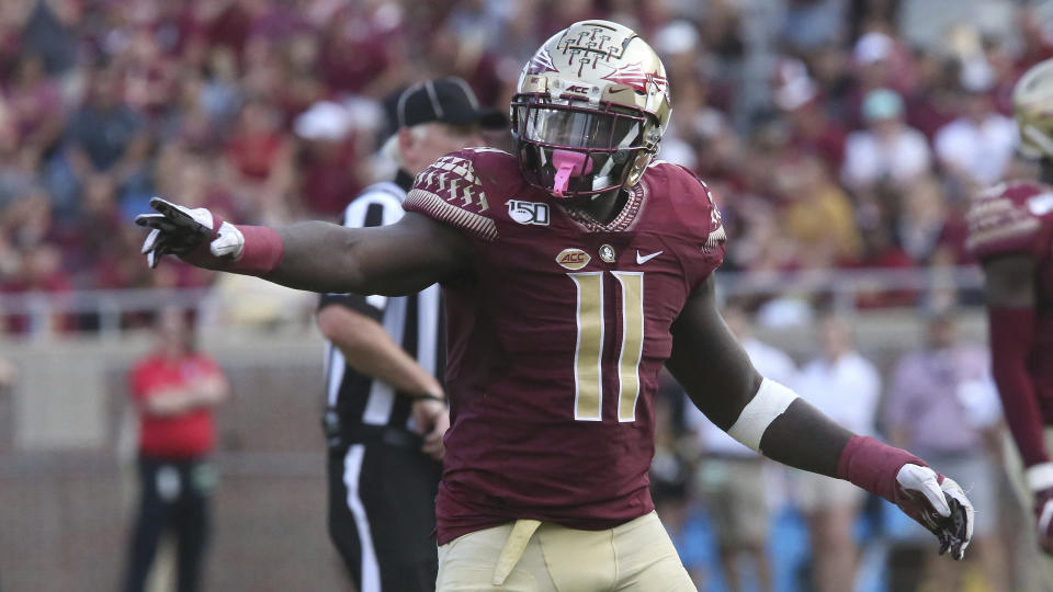 Florida State's Janarius Robinson has incredibly long arms. (AP Photo/Steve Cannon)