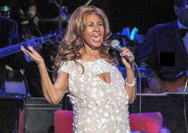 <p>Aretha Franklin in concert at The Mann Center, Philadelphia, in 2017. (Rex) </p>