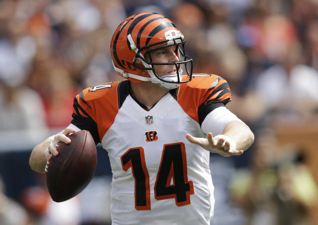 Cincinnati Bengals quarterback Andy Dalton passes against the Chicago Bears during the first half of an NFL football game, Sunday, Sept. 8, 2013, in Chicago. (AP Photo/Nam Y. Huh)