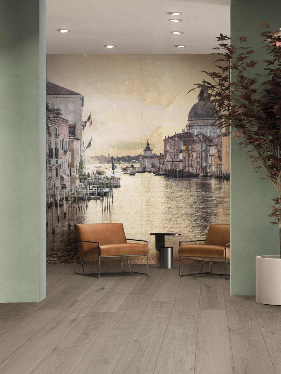 """This undated photo provided by Ceramics of Italy shows some of Italy based ABK's """"ceramic wallpaper."""" ABK offers the Nuovi Mondi capsule collection of large format ceramic tiles digitally printed, with painterly landscapes and whimsical illusory elements like tightrope walkers, bicyclists and playful children. Termed """"ceramic wallpaper,"""" the scenes include Rome, Venice, and Milan. (Ceramics of Italy via AP)"""