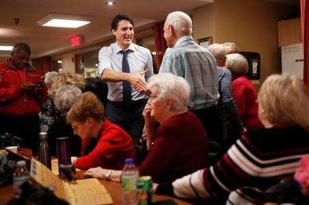 Liberal leader and Canadian Prime Minister Justin Trudeau campaigns for the upcoming election in a retirement house in Chambly