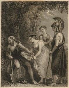A man turns away from two women and a solidier.
