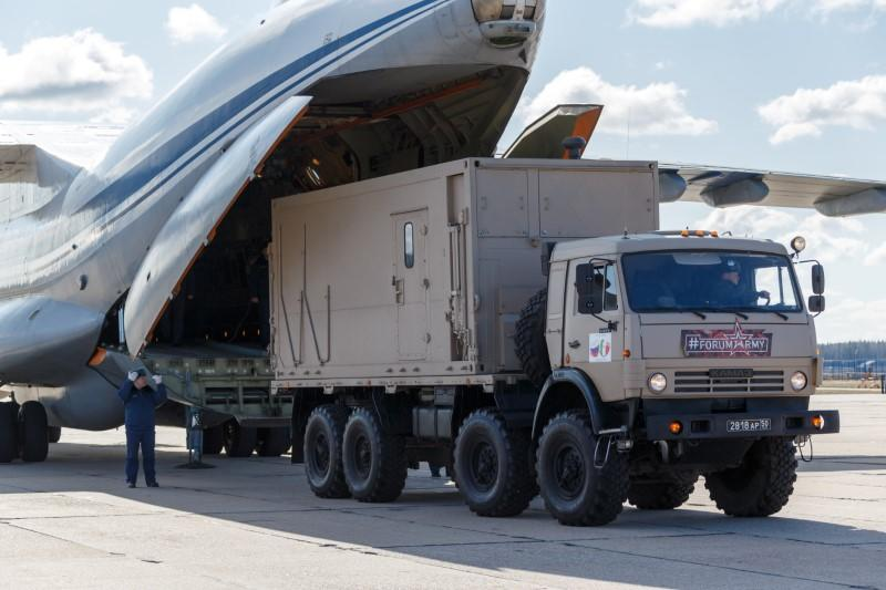 The Russian military send medical supply to Italy at an airdrome in Moscow region
