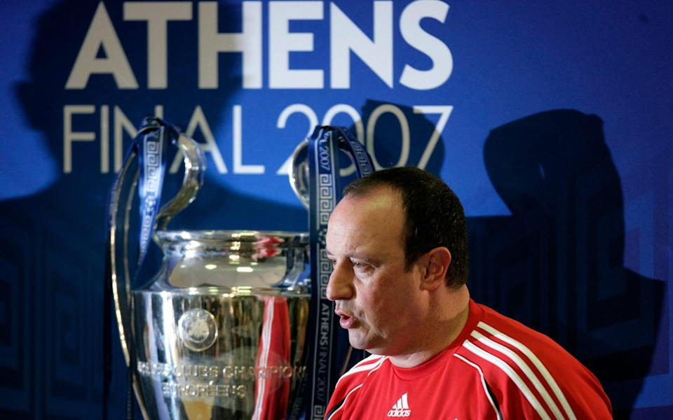 Liverpool's coach Rafael Benitez arrives for a news conference for the upcoming Champions League final at the Olympic Stadium in Athens. - Reuters
