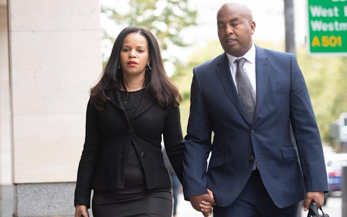 Claudia Webbe arrives at Westminster Magistrates Court with her partner Lester Thomas & # xa0;  - Geoff Pugh