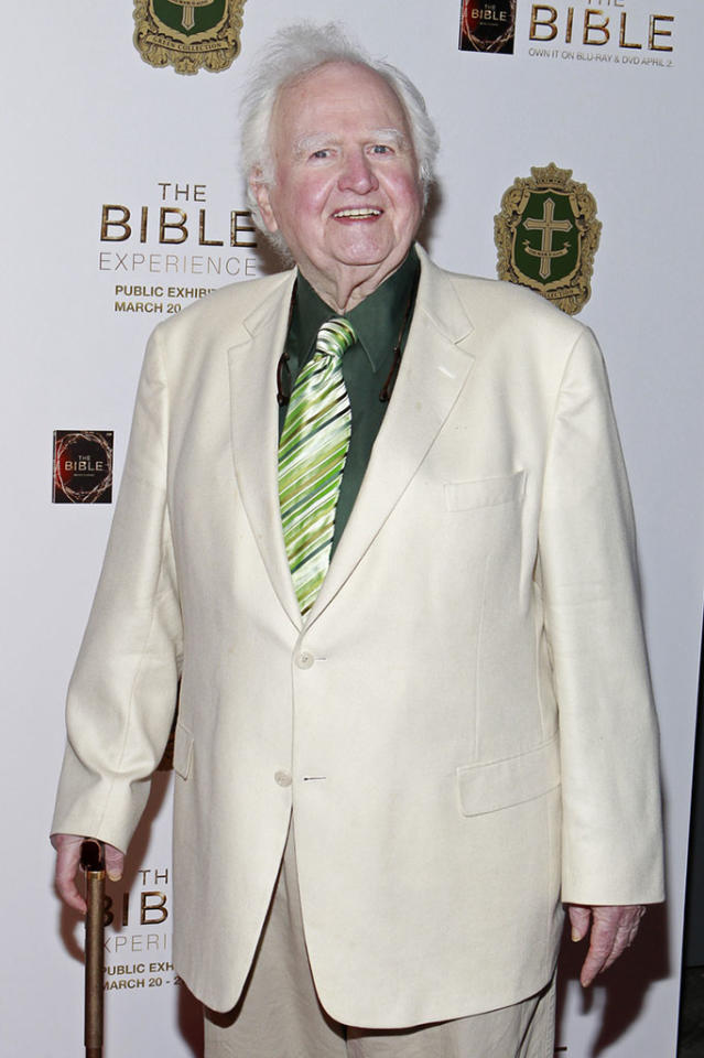 "Malachy McCourt arrives at ""The Bible Experience"" opening night gala, a rare exhibit of biblical artifacts, in New York City on Tuesday, March 19 in New York."