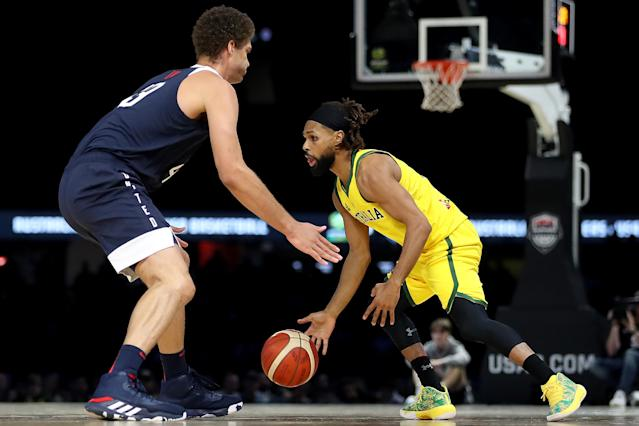 Patty Mills went off to take down Team USA in front of a home crowd. (Photo by Jonathan DiMaggio/Getty Images)