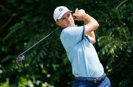May 23, 2019; Fort Worth, TX, USA; Jordan Spieth plays his shot from the sixth tee during the first round the Charles Schwab Challenge golf tournament at Colonial Country Club. Mandatory Credit: Ray Carlin-USA TODAY Sports