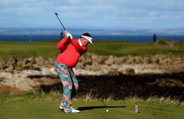 KINGSBARNS, SCOTLAND - OCTOBER 06:  Former cricketer Sir Ian Botham tees off on the 15th hole during the third round of The Alfred Dunhill Links Championship at Kingsbarns Golf Links on October 6, 2012 in Kingsbarns, Scotland.  (Photo by Warren Little/Getty Images)