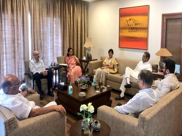 Nationalist Congress Party chief Sharad Pawar with defence experts, MPs at his residence. (Picture source: Twitter/Sharad Pawar)