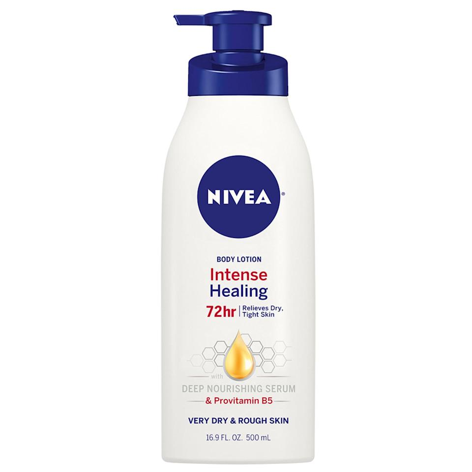 <p>Another drugstore favorite, this <span>Nivea Intense Healing Body Lotion</span> ($5) will give you a bang for your buck. The star ingredient, provitamin B5, intensively moisturizes and soothes dry and rough skin after just one use. Since there's enough to go around, be sure to put it on every night.</p>