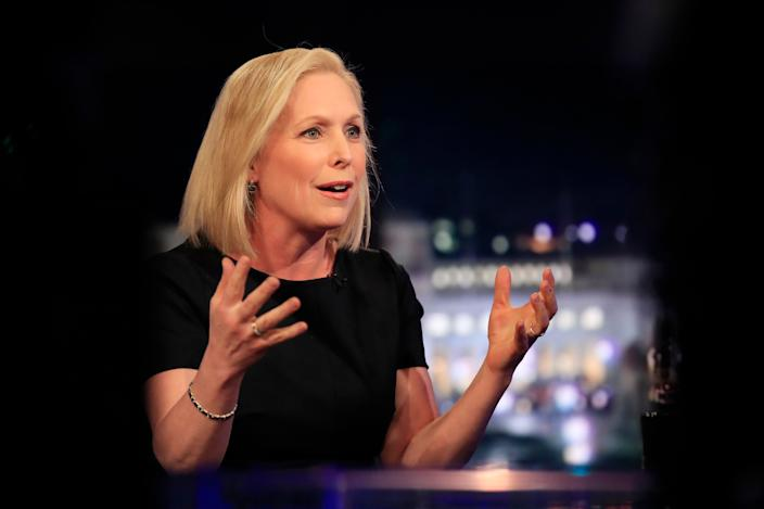 Democratic presidential candidate Sen. Kirsten Gillibrand, D-N.Y., is interviewed by FOX News Channel anchor Chris Wallace on Special Report, in Washington, Monday, Feb. 25, 2019. (AP Photo/Manuel Balce Ceneta)
