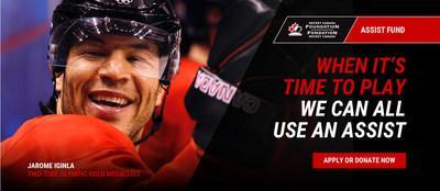 Jarome Iginla (St. Albert, Alta.) - Hockey Canada alumnus, member of the Class of 2020 for the Hockey Hall of Fame, two-time Olympic gold medallist (2002, 2010), gold medallist at the 1997 IIHF World Championship, gold medallist at the 1996 IIHF World Junior Championship and provider of one of the most famous assists in Canadian hockey history, on the Golden Goal by Sidney Crosby at 2010 Olympic Winter Games in Vancouver. (CNW Group/Hockey Canada Foundation)