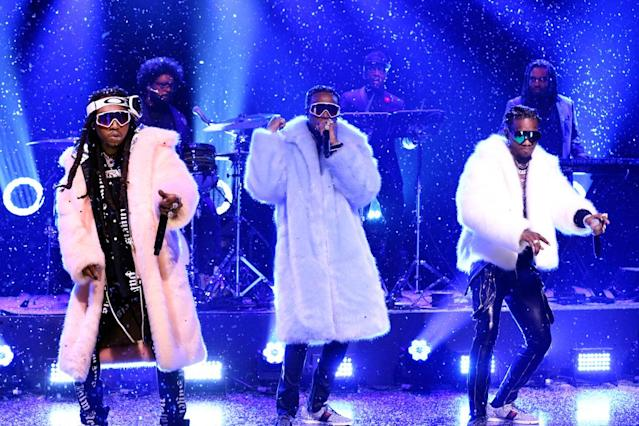 "<p>The hip-hop trio reached No. 1 with their single ""Bad and Boujee"" and their sophomore album, <em>Culture</em>. The trio's Quavo became one of the year's hottest featured artists, thanks to hits by Post Malone, Calvin Harris, DJ Khaled, Drake, and Liam Payne. (Photo: Getty Images) </p>"