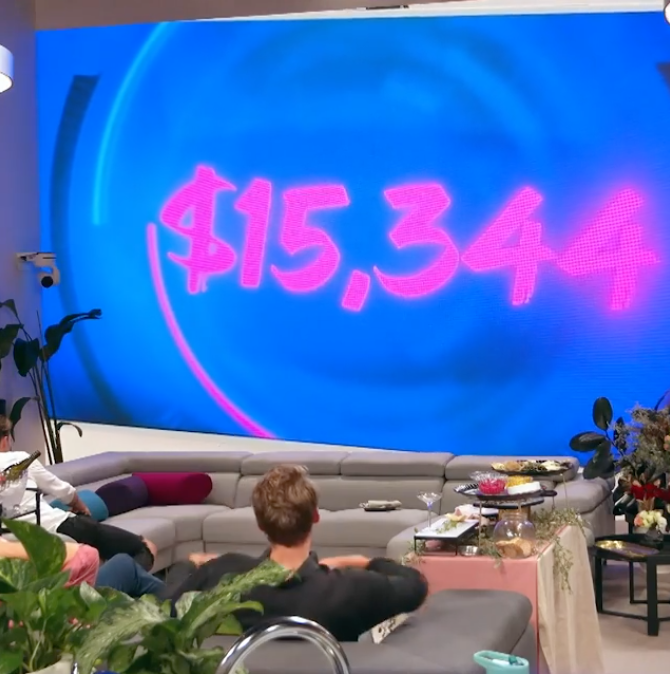 The housemates watch as the total prize money decreases. Photo: Channel 7.