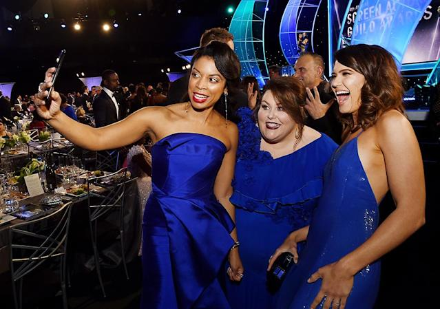 <p>Beauties in blue! The ladies of <em>This Is Us </em>posed for a matching selfie at 24th Annual Screen Actors Guild Awards on Sunday. They were all winners too — the show took home the award for Best Ensemble Cast in a Drama. (Photo: Kevin Winter/Getty Images for Turner Image) </p>