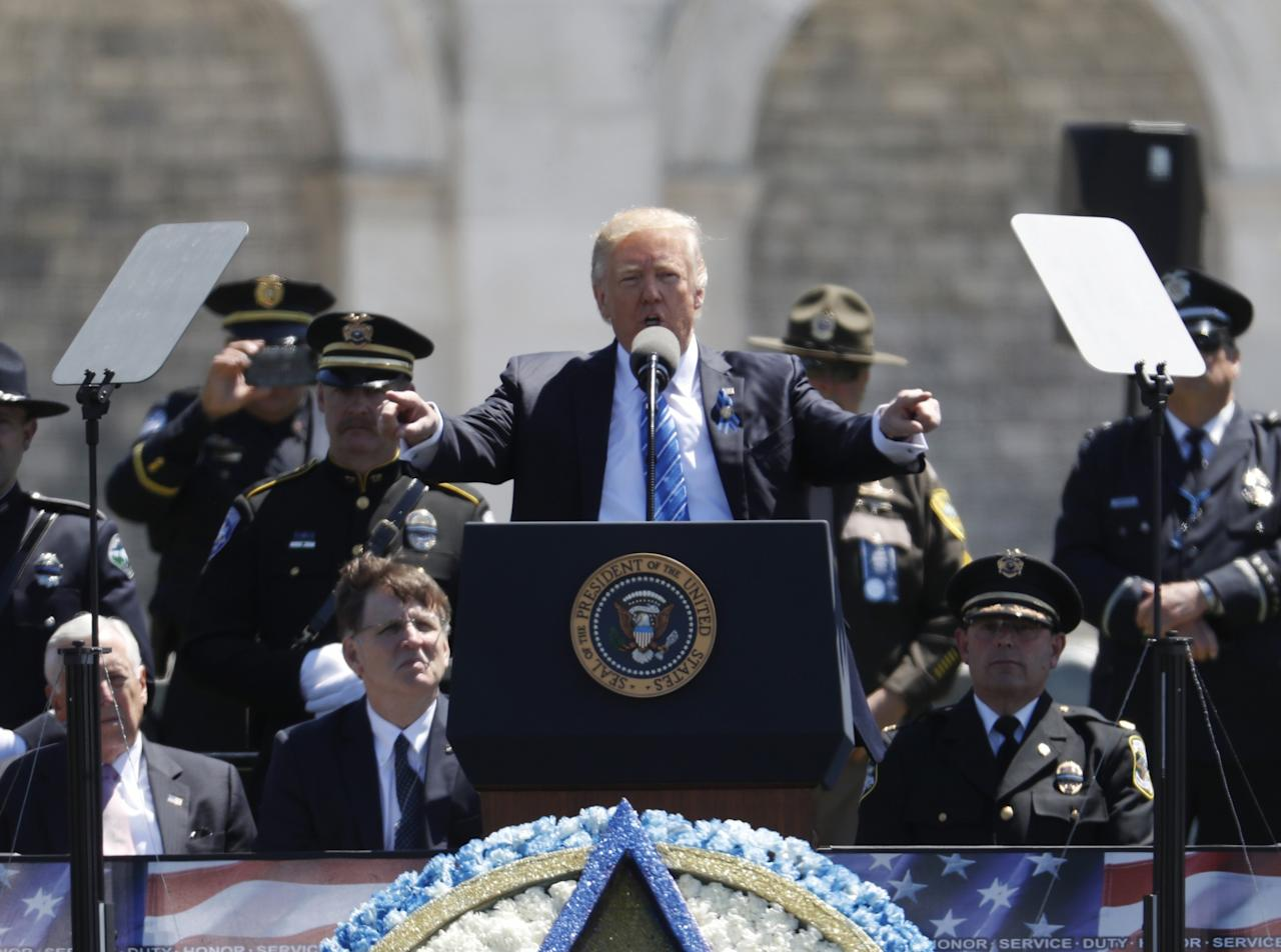 <p>President Donald Trump speaks at the 36th Annual National Peace Officers' memorial service, Monday, May 15. 2017, on Capitol Hill in Washington. (AP Photo/Pablo Martinez Monsivais) </p>