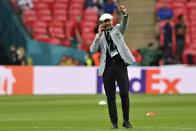 Italy delegation chief Gianluca Vialli gestures while walking on the pitch prior the start of the Euro 2020 soccer championship final match between England and Italy at Wembley Stadium in London, Sunday, July 11, 2021. (Paul Ellis/Pool via AP)