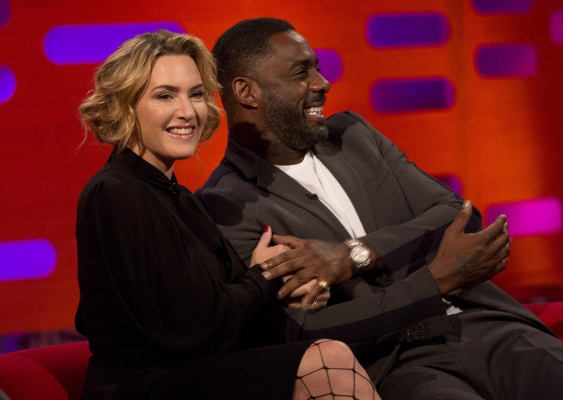 Kate Winslet and Idris Elba during filming of the Graham Norton Show. (Isabel Infantes - PA Images via Getty Images)