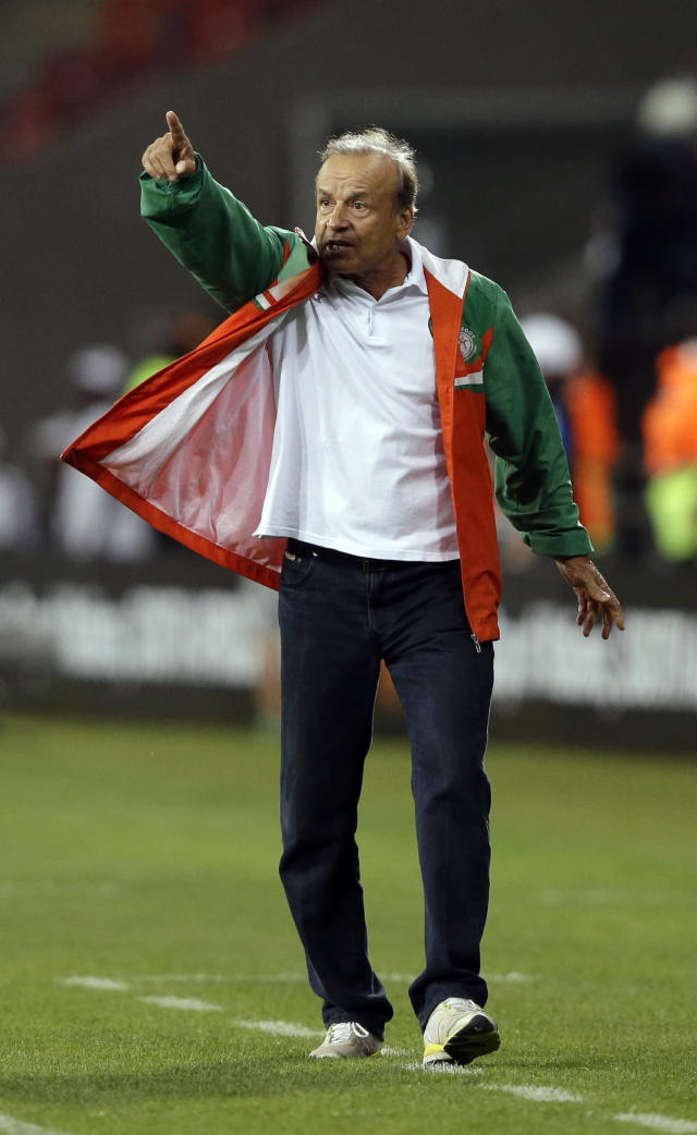 FILE - In this Thursday, Jan. 24, 2013 file photo, Nigeria coach Gernot Rohr shouts to his team from the sidelines during their African Cup of Nations Group B soccer match against Congo, at Nelson Mandela Bay Stadium in Port Elizabeth, South Africa. (AP Photo/Rebecca Blackwell, File)