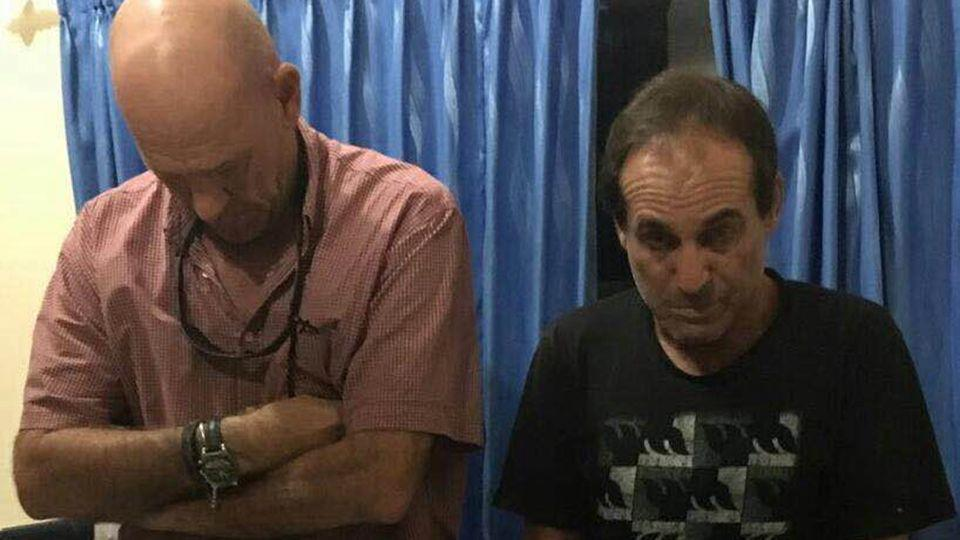 The Australian man (right) and a British man were allegedly in possession of a large quantity of hashish. Photo: Supplied