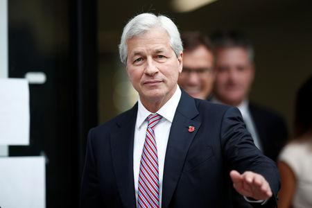 Jamie Dimon, CEO of JPMorgan Chase, leaves after the launching of the Advancing Cities Challenge, in Pantin, a suburb of Paris, France, November 6, 2018. REUTERS/Benoit Tessier