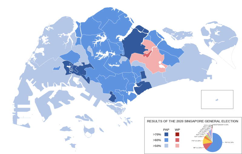 (MAP: Results of the Singapore General Election 2020/Wikimedia Commons)