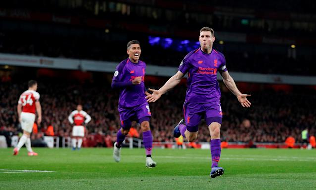 "<a class=""link rapid-noclick-resp"" href=""/soccer/teams/liverpool/"" data-ylk=""slk:Liverpool"">Liverpool</a> midfielder <a class=""link rapid-noclick-resp"" href=""/soccer/players/374750/"" data-ylk=""slk:James Milner"">James Milner</a> celebrates his goal during Saturday's 1-1 draw at <a class=""link rapid-noclick-resp"" href=""/soccer/teams/arsenal/"" data-ylk=""slk:Arsenal"">Arsenal</a>. (Reuters/Matthew Childs)"