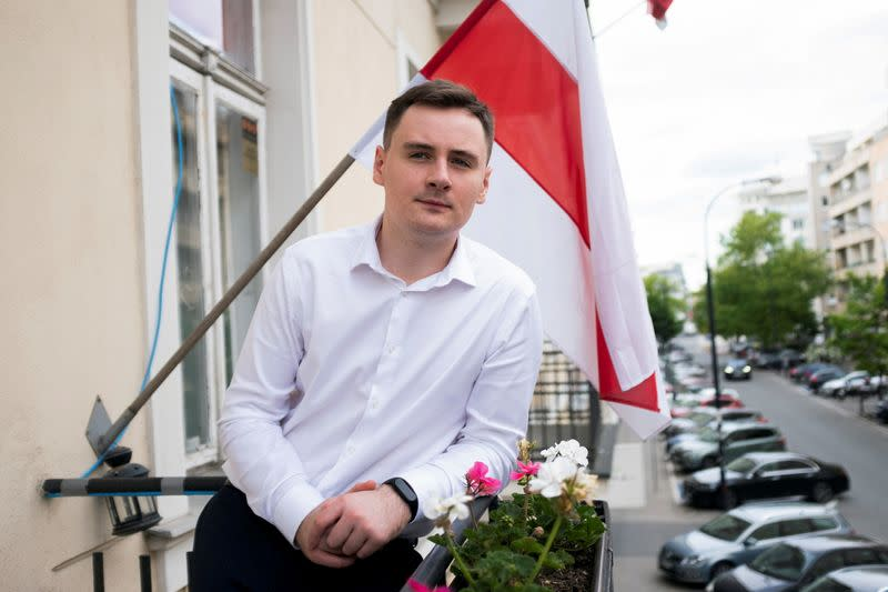FILE PHOTO: Warsaw-based Belarusian blogger Stsiapan Putsila is pictured at NEXTA office in Warsaw,