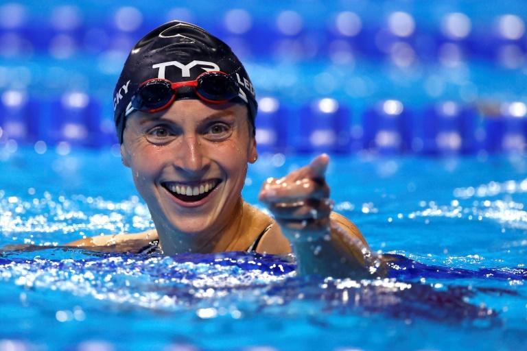 Katie Ledecky reacts after winning the 800m freestyle at the US Olympic swimming trials